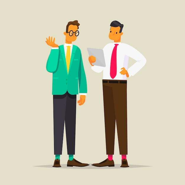 Разговор двух деловых людей, иллюстрации в плоском стиле Premium векторы