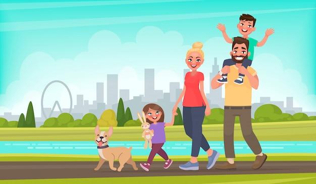 Счастливая семья гуляет по городскому парку. отец, мать, сын и дочь вместе на открытом воздухе. векторная иллюстрация в мультяшном стиле Premium векторы
