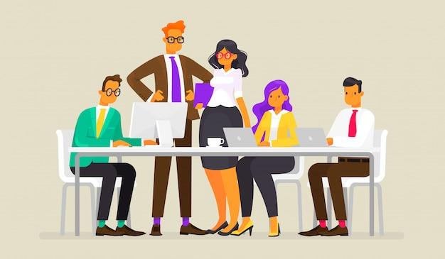 チームワーク。ビジネス人々、フラットスタイルのイラストの会議 Premiumベクター