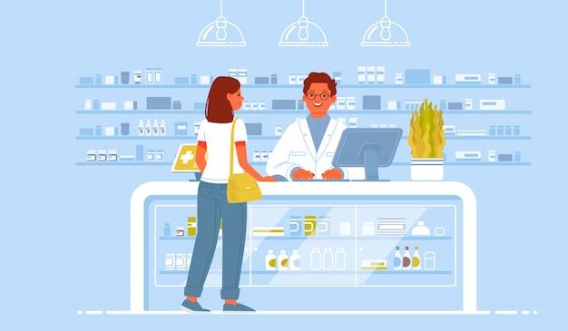 薬剤師の医師とドラッグストアの患者。クライアントの女性が薬局で薬を買う Premiumベクター