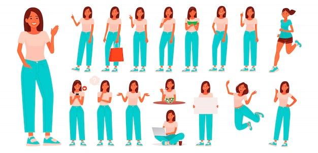 カジュアルな服装の若い女性のキャラクターのセット。さまざまなポーズやジェスチャーを持つ少女は、日常の活動に従事しています Premiumベクター