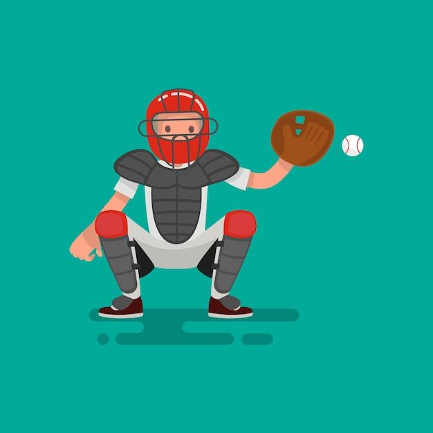Игрок в бейсбол ловец ловит мяч Premium векторы