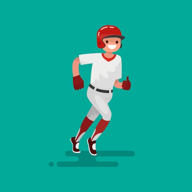 Иллюстрация игрока в бейсбол Premium векторы
