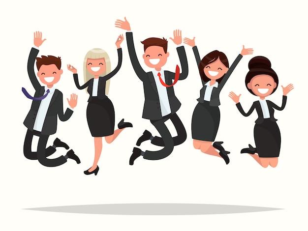 Деловые люди празднуют победу прыгать на белом фоне иллюстрации Premium векторы