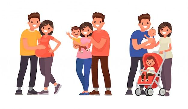 Набор этапов развития семьи. беременность, рождение первенца и второго ребенка Premium векторы