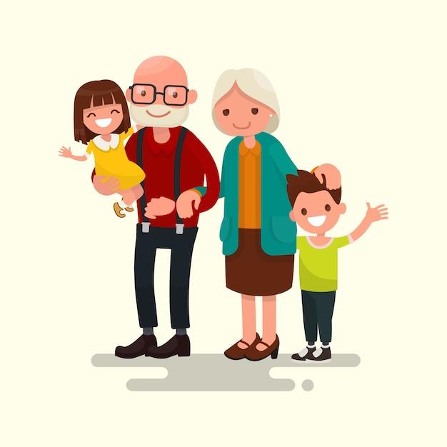 Бабушка и дедушка с внуками Premium векторы