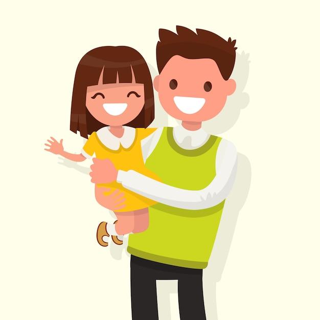 Счастливый папа держит дочь на руках иллюстрации Premium векторы