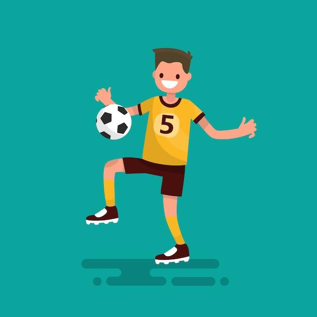 Футболист бьет по мячу Premium векторы