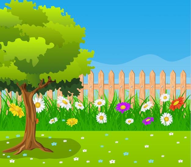 美しい田園風景の眺め。 Premiumベクター