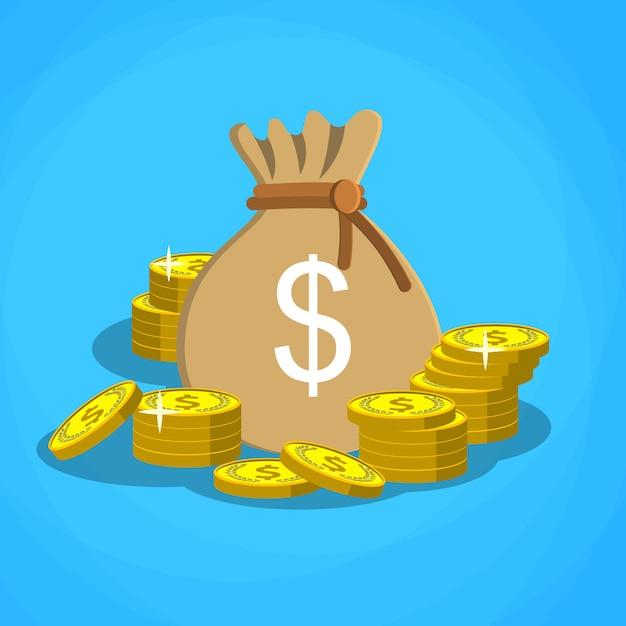 Сумка с долларовыми деньгами Premium векторы