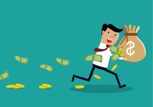 Беспечный бизнесмен, перевозящих разорванный мешок денег. Premium векторы