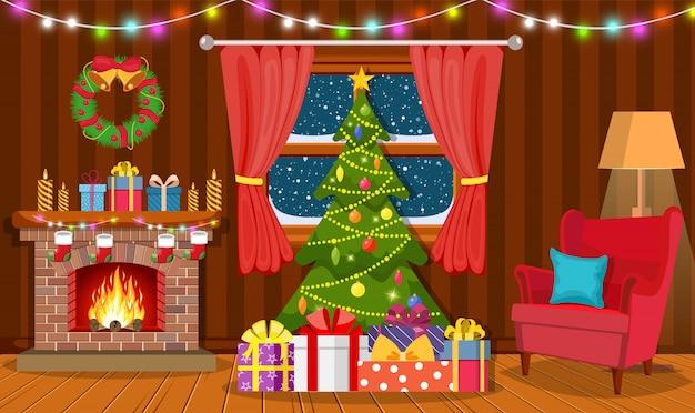 Рождественский интерьер гостиной Premium векторы