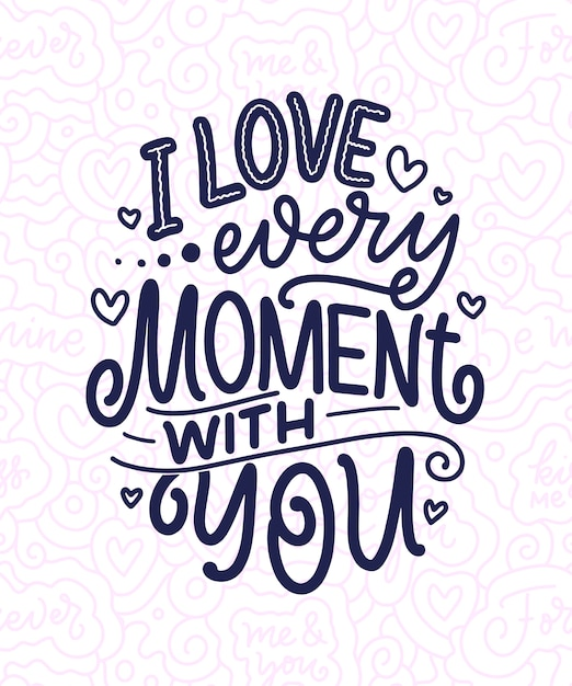 Открытка с лозунгом о любви в красивом стиле Premium векторы