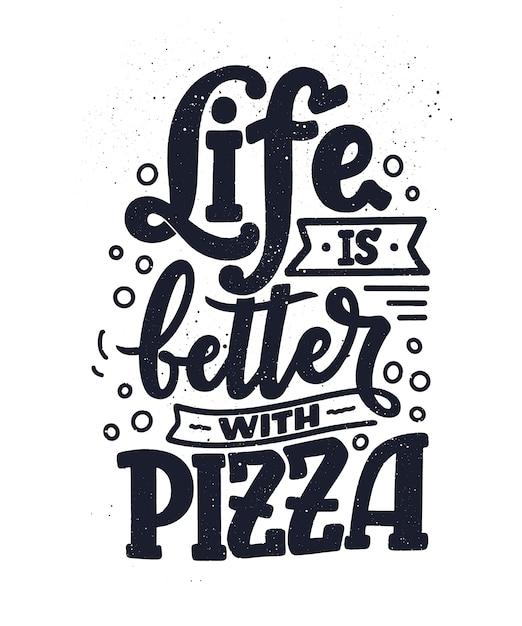 ピザについて手描きの見積もり。文字体裁のメニューデザイン。 Premiumベクター