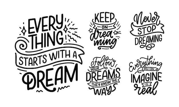 Набор с вдохновляющие цитаты о мечте. Premium векторы