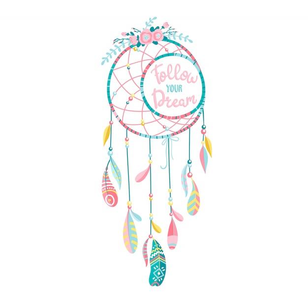 Этнический снов с перьями и цветами. современный романтический стиль рисованной бохо. надпись. следуйте тексту своей мечты. Premium векторы