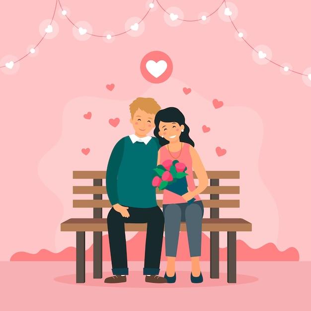 愛のカップルは公園のベンチに座っています。かわいい花輪と心の装飾。 Premiumベクター