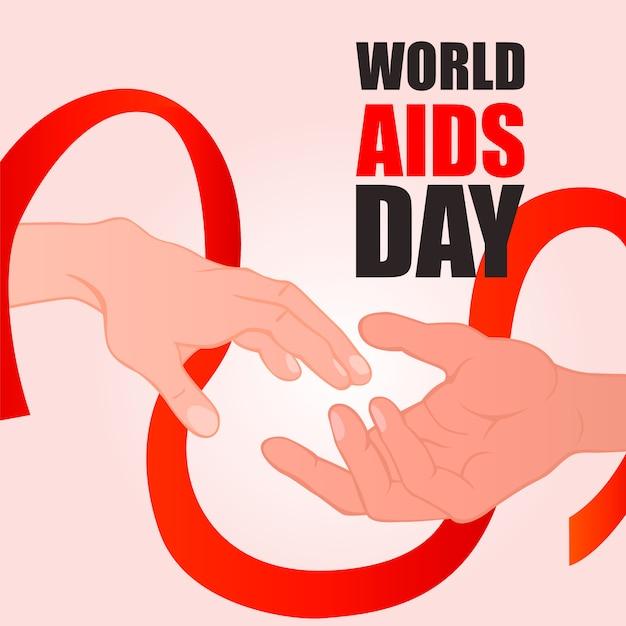 世界エイズデー。赤いリボンと手を繋いでいます。 Premiumベクター