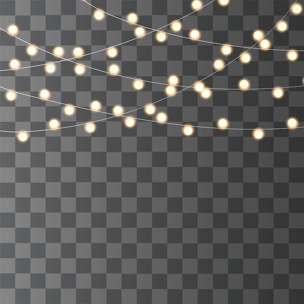 クリスマスライトは透明に分離されました。クリスマス輝く花輪。 Premiumベクター