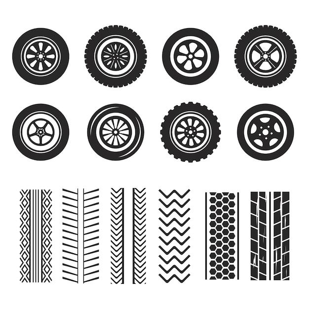Автомобильные шины и следы изолированы Premium векторы