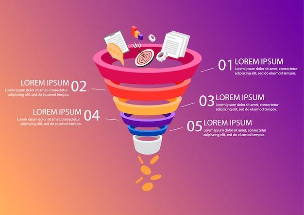 Воронка продаж бизнес инфографика. Premium векторы