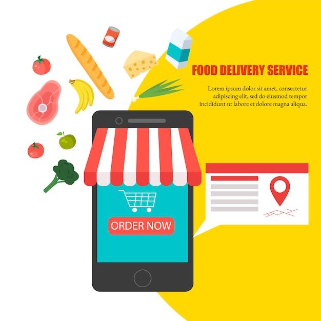 食べ物の注文、自宅での食料品の配達、スマートフォンアプリ:携帯電話のディスプレイに新鮮な野菜、食べ物、飲み物が入った買い物かごいっぱい Premiumベクター
