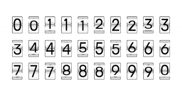 クロック番号を反転します。レトロなカウントダウンアニメーション、機械的なスコアボード番号、数値カウンターフリップ。アラームタイマー、スコア日日付カウンターまたは時間表示数字記号セット Premiumベクター