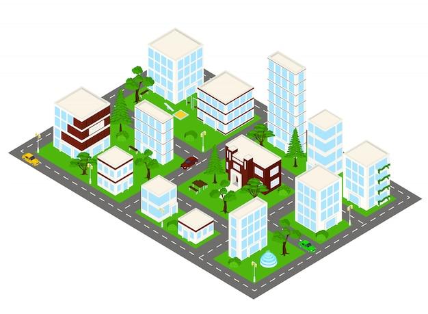 低ポリ都市 Premiumベクター