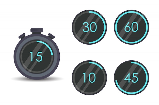 モダンなストップウォッチセット。タイマー、時計、分離されたストップウォッチのアイコンを設定します。調理時間にラベルを付けます。 Premiumベクター