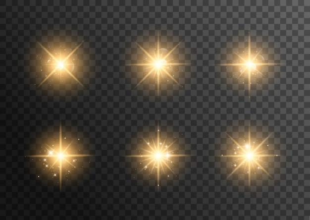 Желтый светящийся свет взрывается на прозрачном. сверкающие магические частицы пыли. яркая звезда. прозрачное сияющее солнце, яркая вспышка. Premium векторы