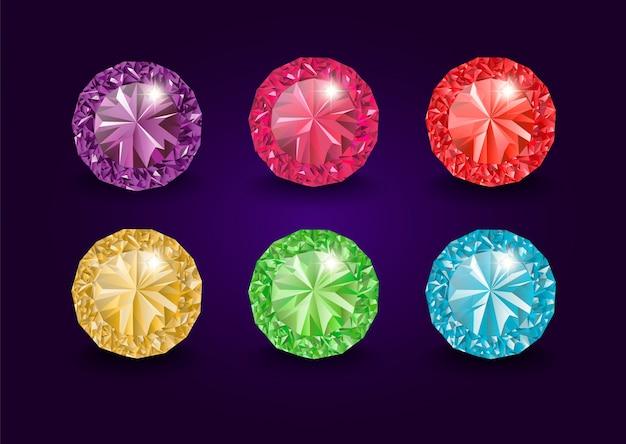 Драгоценные камни и драгоценные камни, ювелирные изделия. горный хрусталь и бриллиант, сапфир и аметист, аквамарин и турмалин, бриллиант и изумруд, кварц и рубин, драгоценные камни, агат. ювелирные изделия Premium векторы