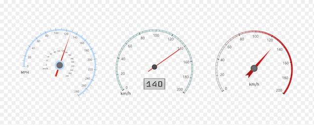 車速計、速度レベルスケールまたはタコメーター付き Premiumベクター