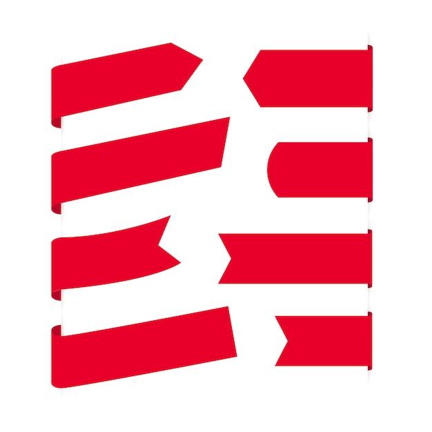 空白の赤いリボンバナーのコレクション Premiumベクター