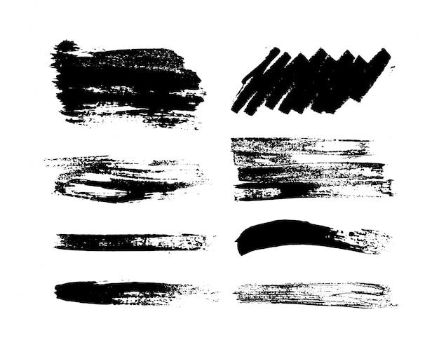 Черная краска, чернила мазка, кисти, линии или текстуры. гранж художественные мазки, кисти. Premium векторы