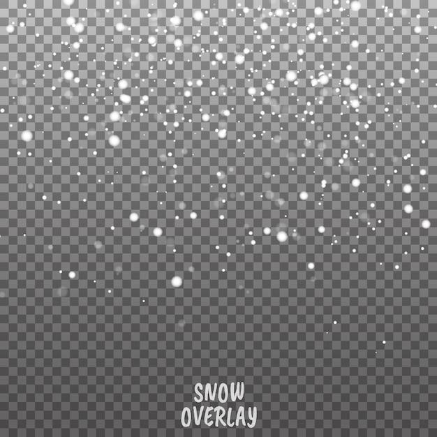 Падающий снег векторный фон. новогоднее украшение фон с снежинками Premium векторы