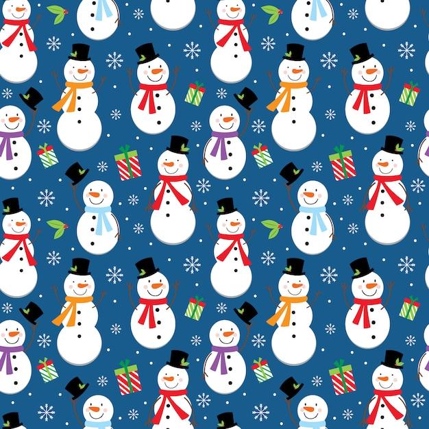 Бесшовный рождественский узор с милым дизайном снеговика Premium векторы