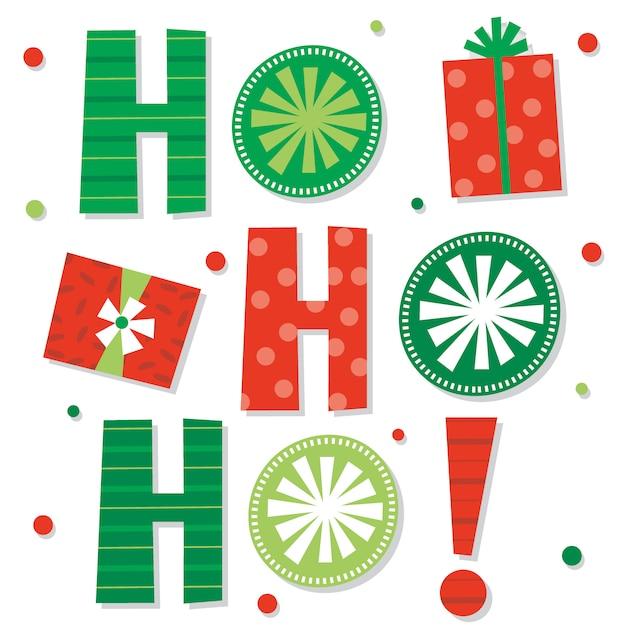 Декоративное рождественское хо хо хо письмо с красным и зеленым цветом Premium векторы