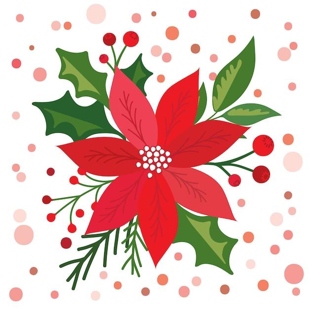 Рождественская открытка с красивой пуансеттия, Premium векторы