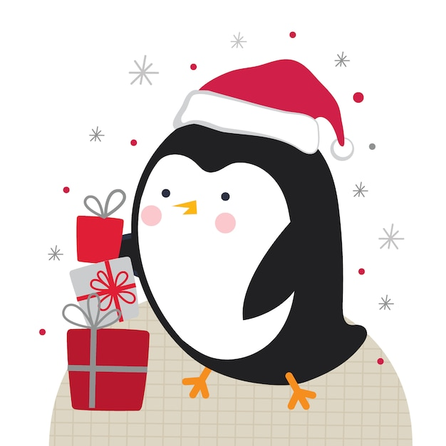 白い背景の上のいくつかのクリスマスプレゼントとかわいい小さなペンギン、 Premiumベクター
