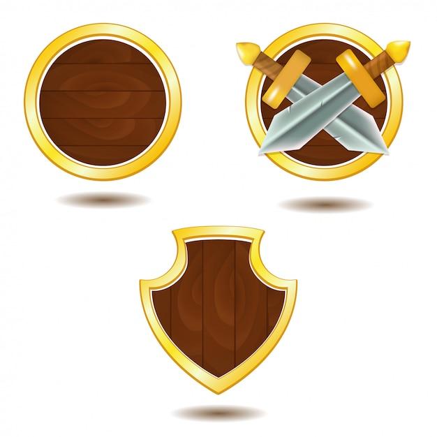 Набор деревянных щитов с золотой рамой и мечами Premium векторы