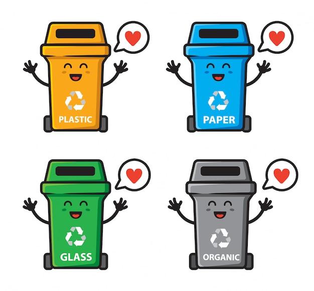 Набор мусора может любить дизайн персонажей Premium векторы