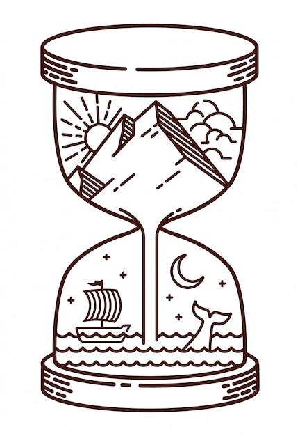 Песочные часы естественная линия иллюстрации Premium векторы