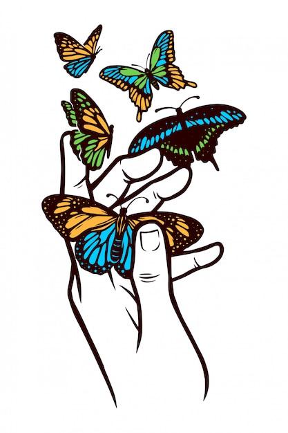 手と蝶の図 Premiumベクター