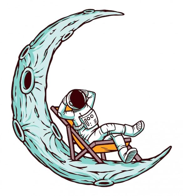 Астронавт отдыхает на луне Premium векторы