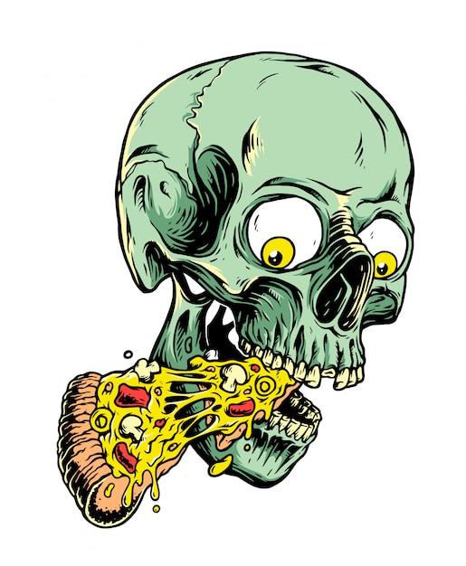 Иллюстрация череп и пицца Premium векторы