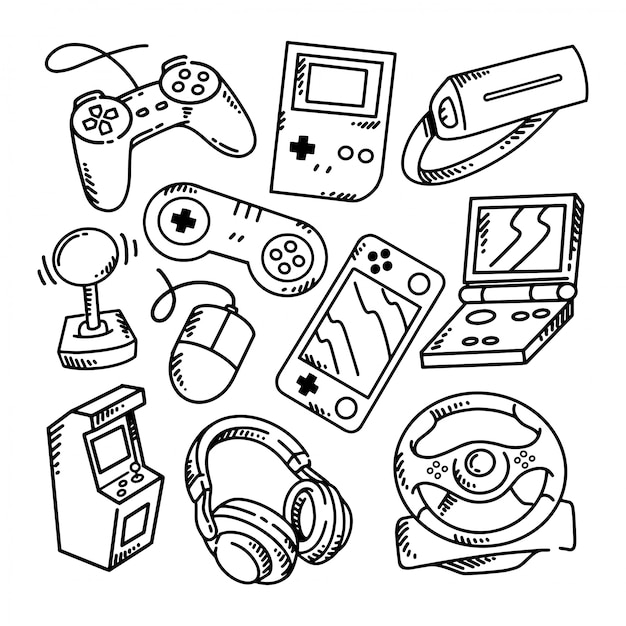 Каракули геймер набор иллюстраций Premium векторы