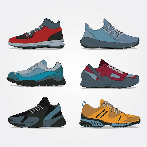 スポーツと旅行靴コレクション Premiumベクター