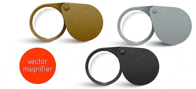 リアルな金属製のモダンな折りたたみ拡大鏡セット。ベクトル虫眼鏡レンズ。 Premiumベクター