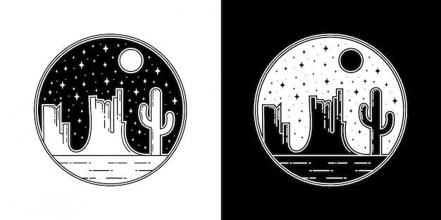 夜の砂漠モノラインバッジデザイン Premiumベクター