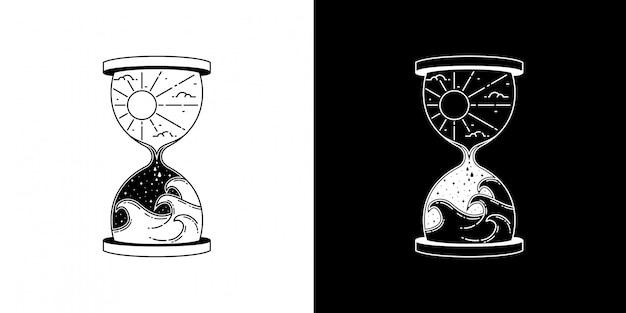 ウェーブモノラインデザインの砂時計 Premiumベクター